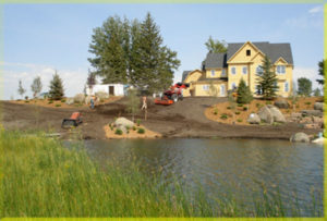 Water Feature Ready for Sod in Montana